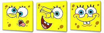 Sponge Bob Kids Canvas Wall Art Plaque/pictures Set Of Three You Choose The Size • 9.99£