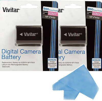 $ CDN31.80 • Buy Vivitar 2X Battery NP-FW50 For Sony Alpha A6000 A3000 A3500 A5000 A6300 A5100