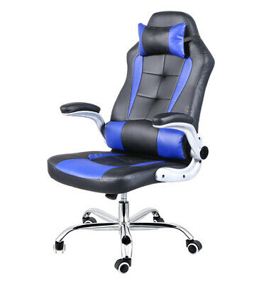 AU119 • Buy Extra Wide Deluxe Gaming Chair Office Computer Seating Racing Pu Leather Blue