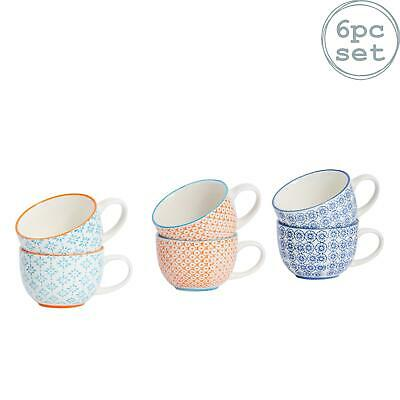 £12.99 • Buy Cappuccino Coffee Tea Latte Patterned Porcelain Cups - 3 Designs - 250ml X6