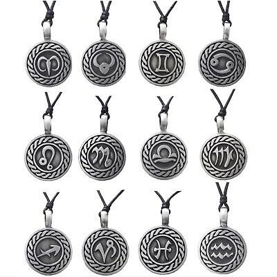 Pewter HOROSCOPE STAR SIGN Pendant On Black Cord Necklace Nickel Free Zodiac • 3.95£