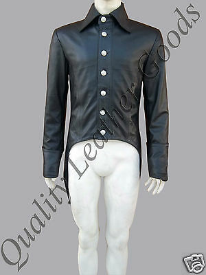 Mens 100% Genuine Leather Tailcoat Steampunk Jacket Coat Gothic Vintage Bluff • 124.99£