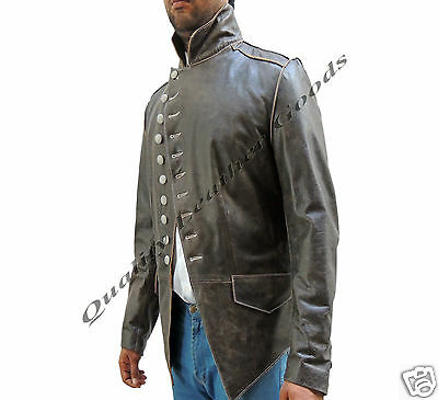 Genuine Handmade Mens Military Style Antique Brown Leather Steampunk Jacket BLUF • 129.99£