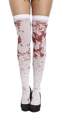 Halloween White Bloody Hold Ups Fancy Dress Accessory Ladies One Size • 2.59£
