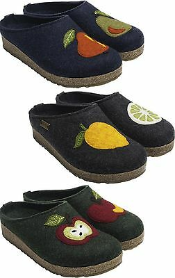 Haflinger Pera Mela Limone Women's Wool Slippers Clogs Lemon Apple Pear • 64£