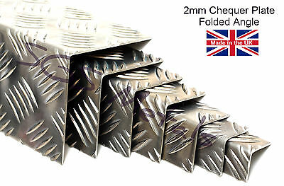 £14.85 • Buy 2.0mm Aluminium CHEQUER PLATE FOLDED ANGLE Wall Corner Protector
