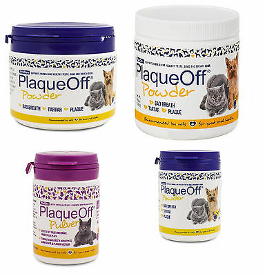 Plaque Off Powder For Dogs Cats Bad Breath Tooth Tartar Plaque Removal All Sizes • 16.74£