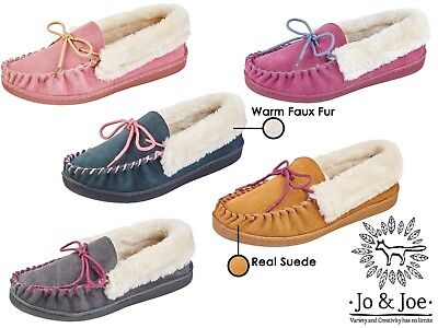 Ladies Real Suede Faux Sheepskin Fur Lined Moccasin Slippers JO & JOE Shoes  • 13.75£