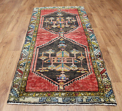 Old Wool Hand Made Oriental Floral Runner Area Rug Carpet 203x92 Cm • 157.24£