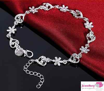 925 Sterling Silver Love Heart And Daisy Bracelet Jewellery Womens Ladies Gift • 3.99£