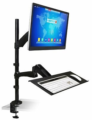 $137.99 • Buy Mount-It! Standing Desk Mount With Monitor Mount Workstation And Keyboard Tray