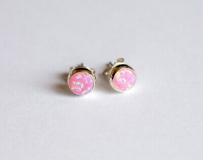 925 Sterling Silver And Opal Stud Earrings, White, Blue, Pink, Green, Red  • 7.99£