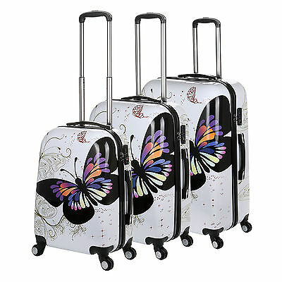Hard Shell Case 4 Wheel Spinner Cabin Suitcase With Butterfly Detail PC CarryOn • 25.95£