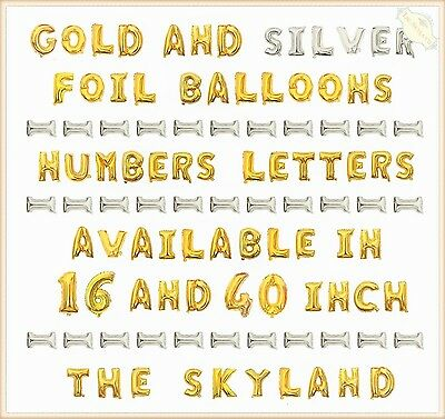 AU4.89 • Buy 16 /40 Gold/Silver Foil Letter Number Balloons Birthday Wedding Party Decoration