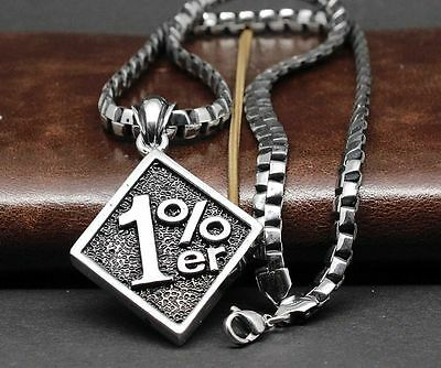 One Percent 1% ER Pendant Motorcycle Biker Men's Necklace With A 22  Chain Uk375 • 12.98£