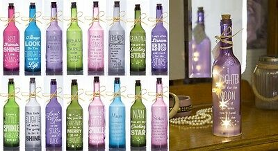 Starlight Bottle Glow Light Up Wine Bottle Gift For Her Mum Daughter Sister Gran • 9.95£