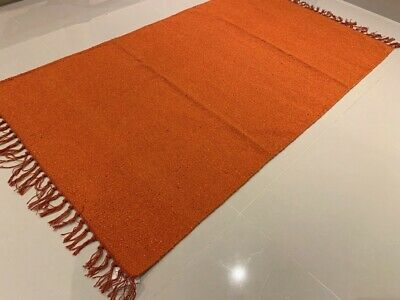 £29.99 • Buy Eco Friendly Rust Orange Recycled Cotton Rich Kilim Washable Reversible Area Rug