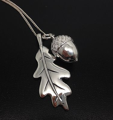 £61.99 • Buy Oak Leaf Acorn Necklace, Solid Sterling Silver. Adjustable Chain. Gift Box, New