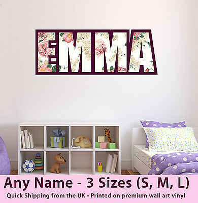 Childrens Name Wall Stickers Art Personalised Rose Shabby Chic For Girls Bedroom • 17.99£