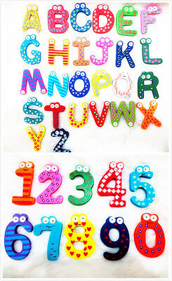 26 Letters 10 Numbers Kids Wooden Alphabet Fridge Magnet Child Educational Toy • 2.99£
