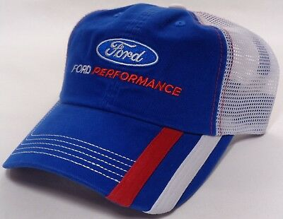 8cd3d7c1cb2 Hat Cap Licensed Ford Performance Racing Red White Stripe Bill Mesh Blue CF  • 17.95