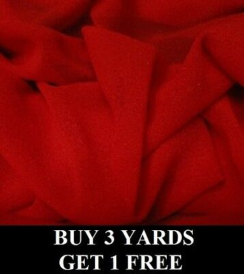 £2.99 • Buy Premium Plain Red Chiffon Georgette Dress-Making Crafts Fabric Material *OFFER*