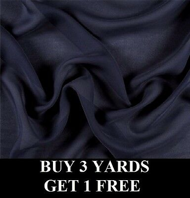 £2.99 • Buy Premium Navy Blue Crepe Chiffon Georgette Dress-Making Crafts Fabric Material