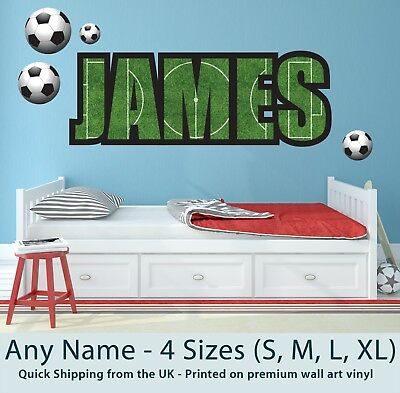 Childrens Name Wall Stickers Art Personalised Football For Boys/Girls Bedroom • 21.99£
