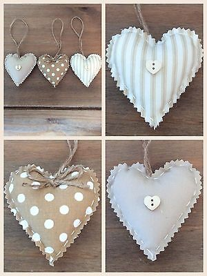 Set Of 3 Shabby Chic Fabric Hanging Love Hearts / Padded Hanging Hearts • 4.50£