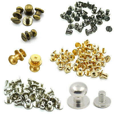 £7.89 • Buy 8mm Chicago Rivet Screw Back Studs Round Head Brass Rivets Leather Crafts 50pcs
