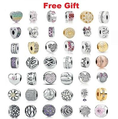 $30.99 • Buy 925 Sterling Silver NEW Symbols Clear CLIPS Clip Charms For Charm Bracelet Pave