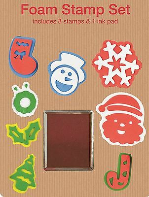 8 Foam Stamp Stamping Stamper Ink Pad Christmas Party Stocking Filler Gift Kids • 2.15£
