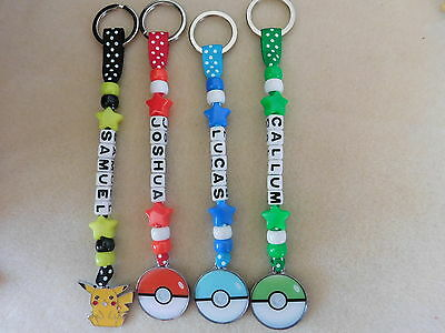 Personalised Keyring Bag Tag Bagtag Pokemon Pikachu Pokeball • 3.49£