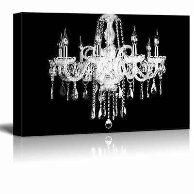 $39.99 • Buy Wall26 - Canvas Wall Art- Crystal White Chandelier On Black Background - 24 X36
