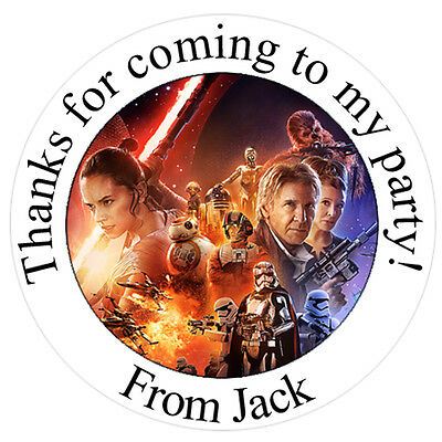 £1.28 • Buy Large Personalised STAR WARS Inspired Round Labels Stickers Party Bag Cones