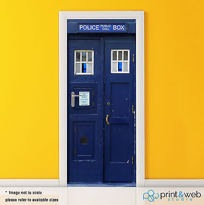 Dr Who Tardis Box Vinyl Door Wrap Decal Sticker Self Adhesive Police Box Bedroom • 39.99£