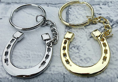 Lucky Metal Horseshoe Keyring 3x3cm 6cm Chain Horse Gold Silver Charm • 2.95£