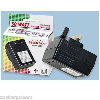 USA US To UK 50 Watt Voltage Converter Step Down 220 Volt To 110 50w 240V 110V • 11.41£