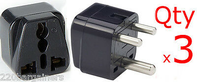 AU5.75 • Buy 3PK India 3-Round Pin Plug Adapter With Universal Output Socket