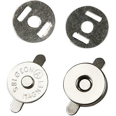 5 X Round Magnetic Clasp Pair Closure Bag 18mm Buttons Snap Close Sewing Craft • 2.99£