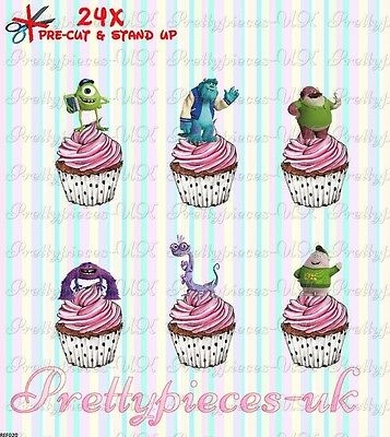 Monster Inc 24 Stand-Up Pre-Cut Wafer Paper Cup Cake Toppers • 2.99£