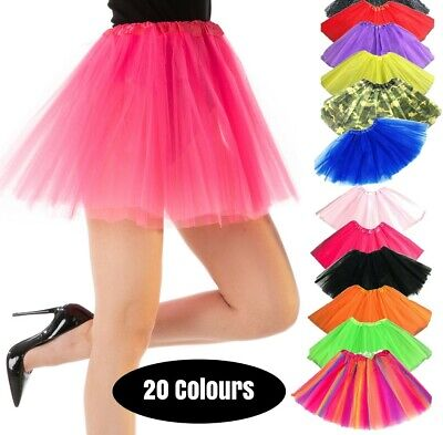 TUTU Dance Fancy Dress Costume Ladies Skirt Rave 1980s 80 Party Ballet Petticoat • 4.49£