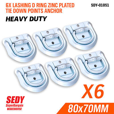 AU16.90 • Buy NEW 6 PCs LASHING D RING ZINC PLATED TIE DOWN POINTS ANCHOR UTE TRAILER 80X70MM