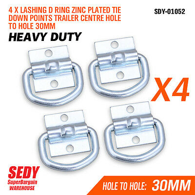 AU13.99 • Buy 4 Pc Lashing D Ring Zinc Plated Tie Down Points Trailer Centre Hole To Hole 30mm