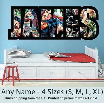 Childrens Name Wall Stickers Art Personalised Superman Batman For Boys Bedroom • 17.99£