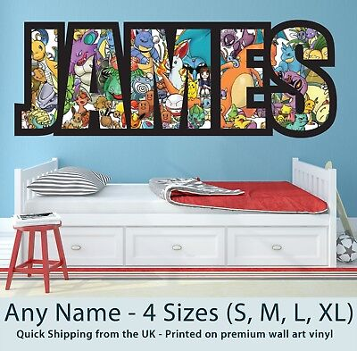 Childrens Name Wall Stickers Art Personalised Pokemon For Boys / Girls Bedroom • 19.99£