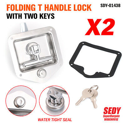 AU38.69 • Buy 2x T LOCK T HANDLE LOCK RECESSED STAINLESS  TRAILER CARAVAN TOOLBOX
