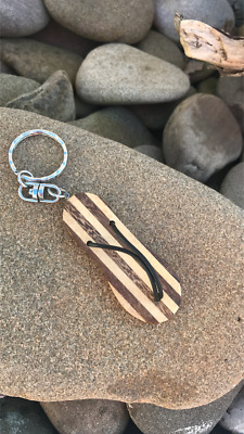 £2.99 • Buy Hand Made Wood 'Flip Flop' Keyring-Surfing Lifestyle
