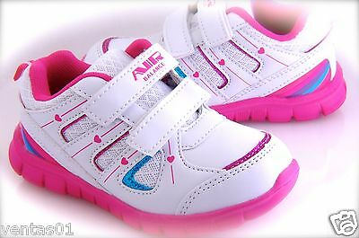 £10.90 • Buy Girls Toddler Running Tennis Shoes White & Pink Easy To Wear Light Weigh