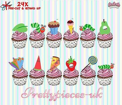 Hungry Caterpillar 24 Stand-Up, Pre-Cut, Wafer Paper Cup Cake Toppers • 2.90£